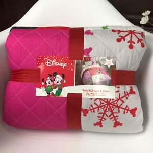 Disney Minnie Mouse Twin Christmas Quilt Cover
